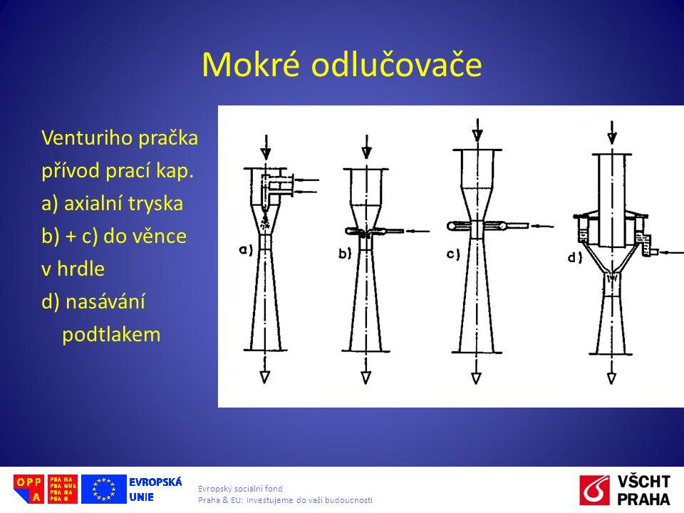 Evropský sociální fond Praha & EU: Investujeme do vaší budoucnosti Mokré odlučovače Venturiho pračka přívod prací kap. a) axialní tryska b) + c) do vě