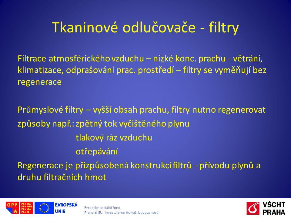 Evropský sociální fond Praha & EU: Investujeme do vaší budoucnosti Tkaninové odlučovače - filtry Filtrace atmosférického vzduchu – nízké konc. prachu