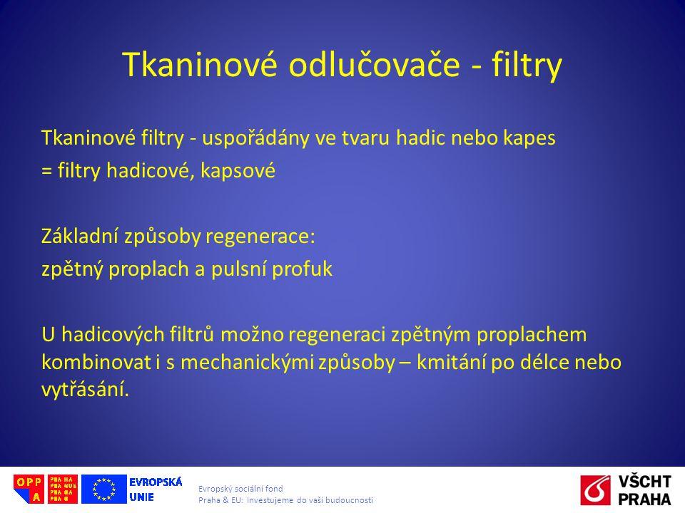Evropský sociální fond Praha & EU: Investujeme do vaší budoucnosti Tkaninové odlučovače - filtry Tkaninové filtry - uspořádány ve tvaru hadic nebo kap