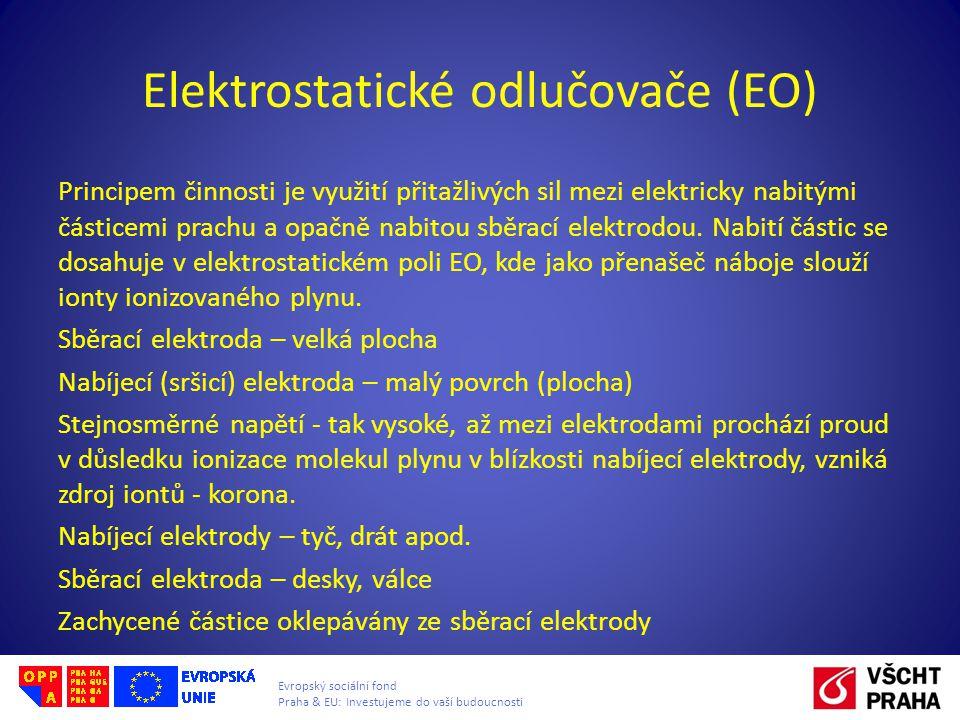 Evropský sociální fond Praha & EU: Investujeme do vaší budoucnosti Elektrostatické odlučovače (EO) Principem činnosti je využití přitažlivých sil mezi