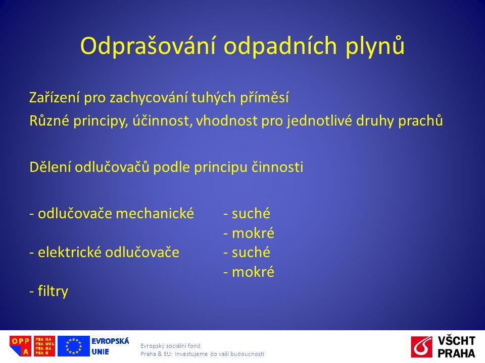 Evropský sociální fond Praha & EU: Investujeme do vaší budoucnosti Odprašování odpadních plynů Zařízení pro zachycování tuhých příměsí Různé principy,