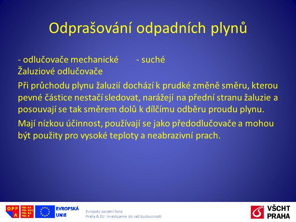 Evropský sociální fond Praha & EU: Investujeme do vaší budoucnosti Odprašování odpadních plynů - odlučovače mechanické - suché Žaluziové odlučovače Př