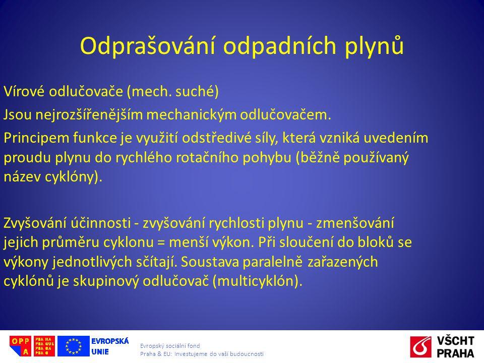 Evropský sociální fond Praha & EU: Investujeme do vaší budoucnosti Odprašování odpadních plynů Vírové odlučovače (mech. suché) Jsou nejrozšířenějším m