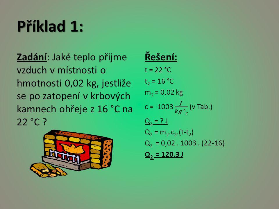 Příklad 1: Zadání: Jaké teplo přijme vzduch v místnosti o hmotnosti 0,02 kg, jestliže se po zatopení v krbových kamnech ohřeje z 16 °C na 22 °C ?