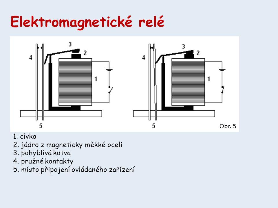 Elektromagnetické relé 1. cívka 2. jádro z magneticky měkké oceli 3. pohyblivá kotva 4. pružné kontakty 5. místo připojení ovládaného zařízení Obr. 5
