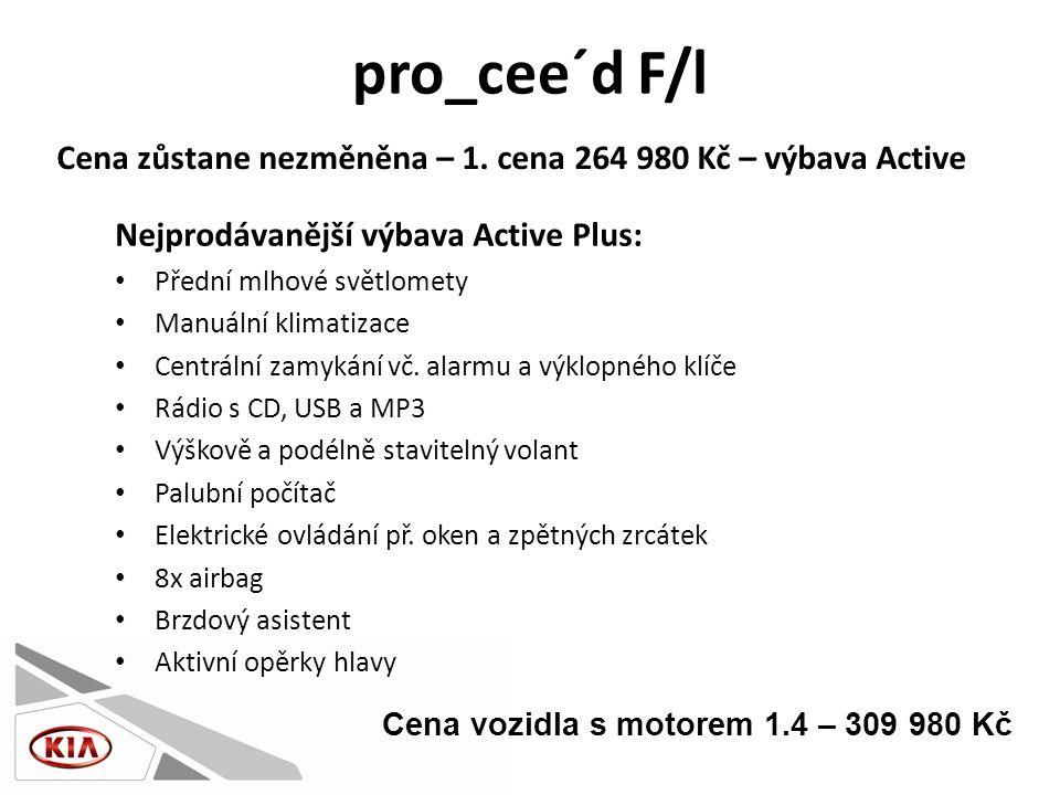 pro_cee´d F/l Nejprodávanější výbava Active Plus: • Přední mlhové světlomety • Manuální klimatizace • Centrální zamykání vč.
