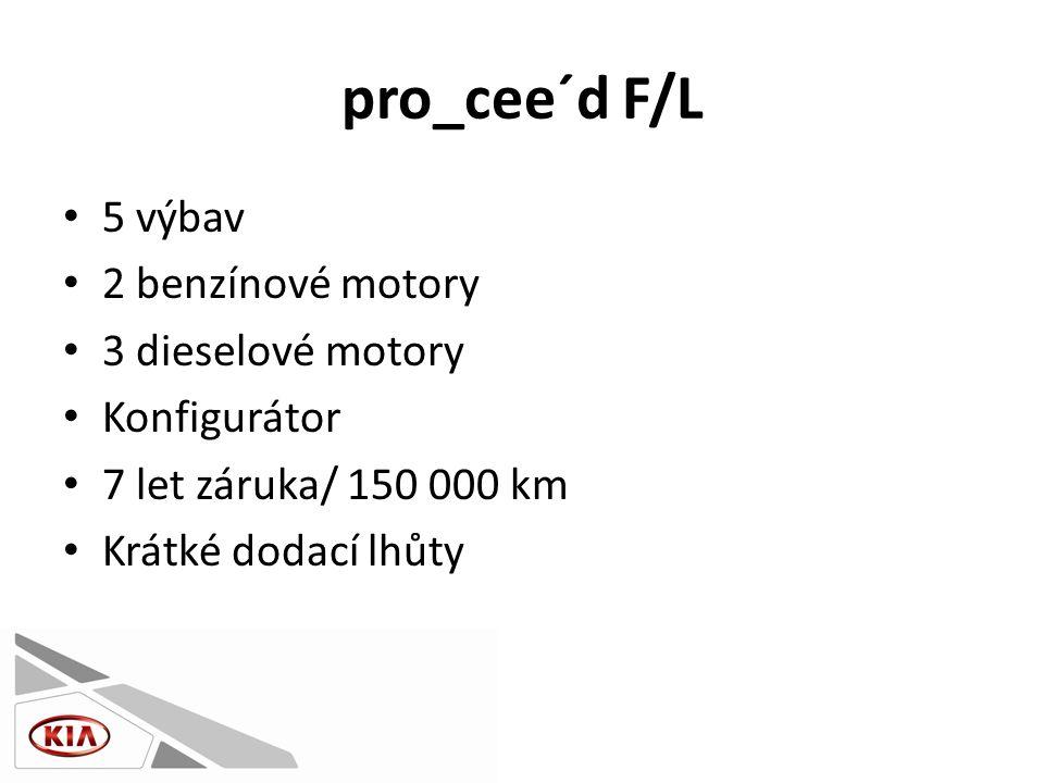 pro_cee´d F/L • 5 výbav • 2 benzínové motory • 3 dieselové motory • Konfigurátor • 7 let záruka/ 150 000 km • Krátké dodací lhůty