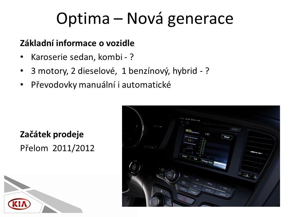 Optima – Nová generace Základní informace o vozidle • Karoserie sedan, kombi - .