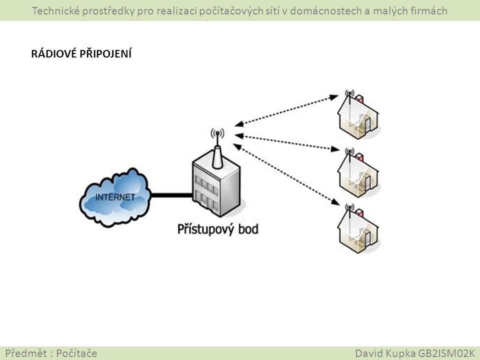 Technické prostředky pro realizaci počítačových sítí v domácnostech a malých firmách Předmět : Počítače David Kupka GB2ISM02K WIFI ROUTER/REPEATER A WIFI ADAPTÉR WIFI standardy 802.11 Router = směrovač …je to zařízení k vytvoření bezdrátové sítě Může mít integrovány tyto funkce: • Repeater • AP (access point) • Firewall • Print server Wifi adaptér použijeme v případě, že počítač nemá integrovanou wifi anténu a nemohl by se připojit k bezdrátové síti.