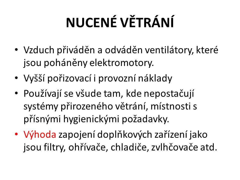 NUCENÉ VĚTRÁNÍ • Vzduch přiváděn a odváděn ventilátory, které jsou poháněny elektromotory.