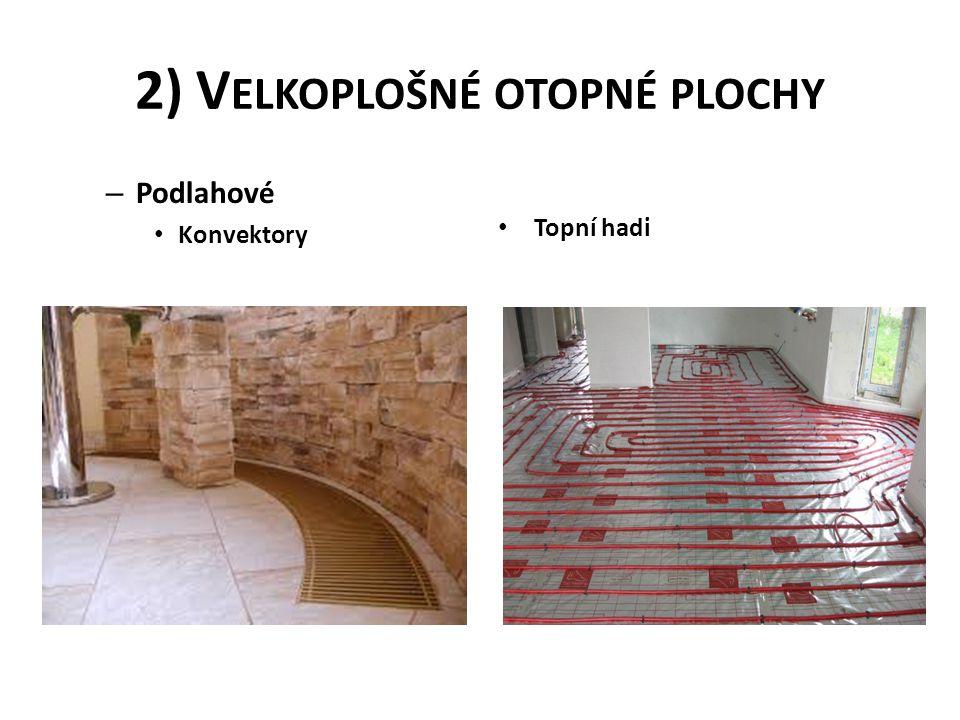 2) V ELKOPLOŠNÉ OTOPNÉ PLOCHY – Podlahové • Konvektory • Topní hadi