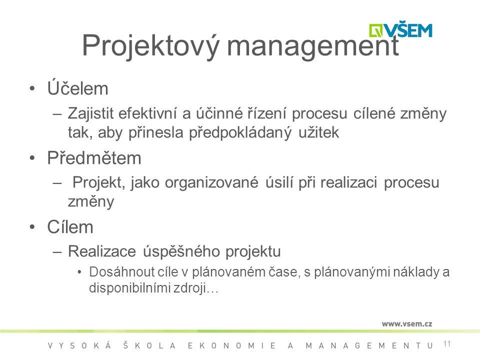 11 Projektový management •Účelem –Zajistit efektivní a účinné řízení procesu cílené změny tak, aby přinesla předpokládaný užitek •Předmětem – Projekt, jako organizované úsilí při realizaci procesu změny •Cílem –Realizace úspěšného projektu •Dosáhnout cíle v plánovaném čase, s plánovanými náklady a disponibilními zdroji…