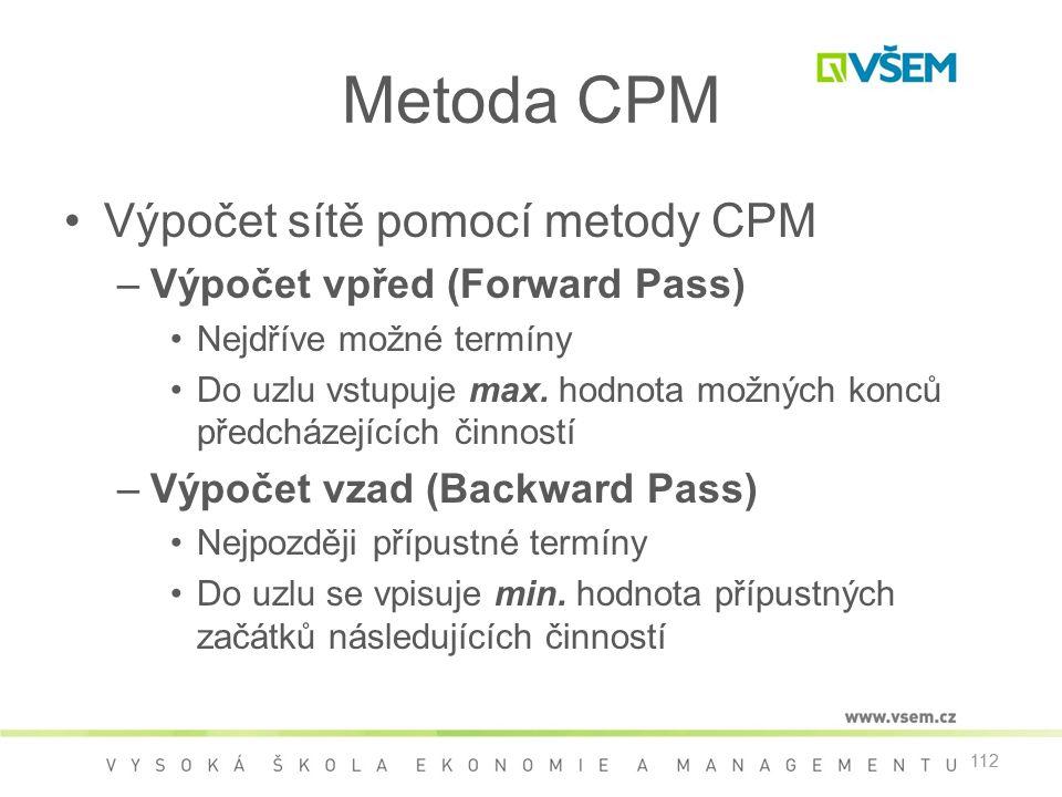 112 Metoda CPM •Výpočet sítě pomocí metody CPM –Výpočet vpřed (Forward Pass) •Nejdříve možné termíny •Do uzlu vstupuje max. hodnota možných konců před