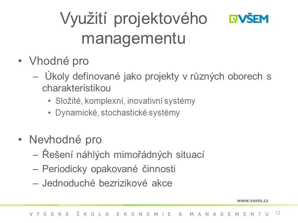 12 Využití projektového managementu •Vhodné pro – Úkoly definované jako projekty v různých oborech s charakteristikou •Složité, komplexní, inovativní