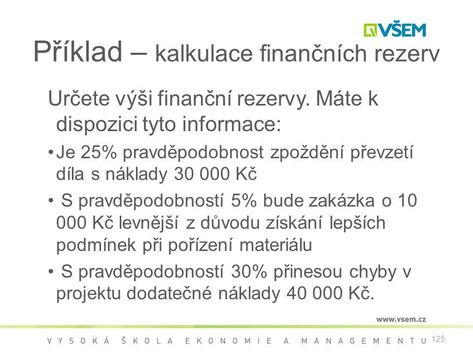 125 Příklad – kalkulace finančních rezerv Určete výši finanční rezervy. Máte k dispozici tyto informace: •Je 25% pravděpodobnost zpoždění převzetí díl