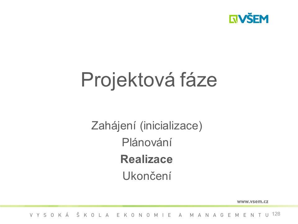128 Projektová fáze Zahájení (inicializace) Plánování Realizace Ukončení 128