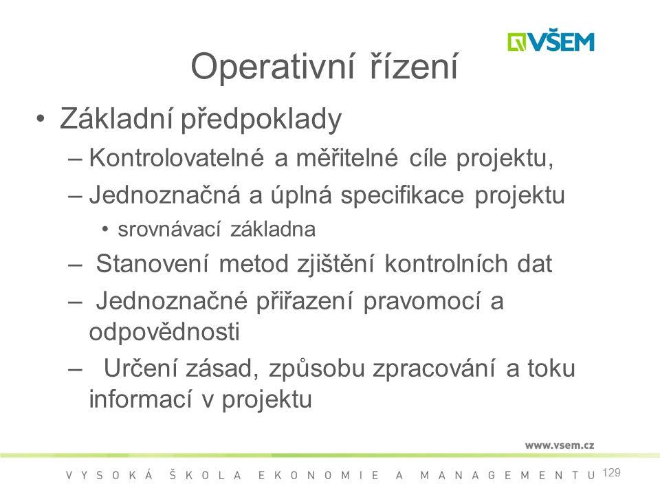 129 Operativní řízení •Základní předpoklady –Kontrolovatelné a měřitelné cíle projektu, –Jednoznačná a úplná specifikace projektu •srovnávací základna