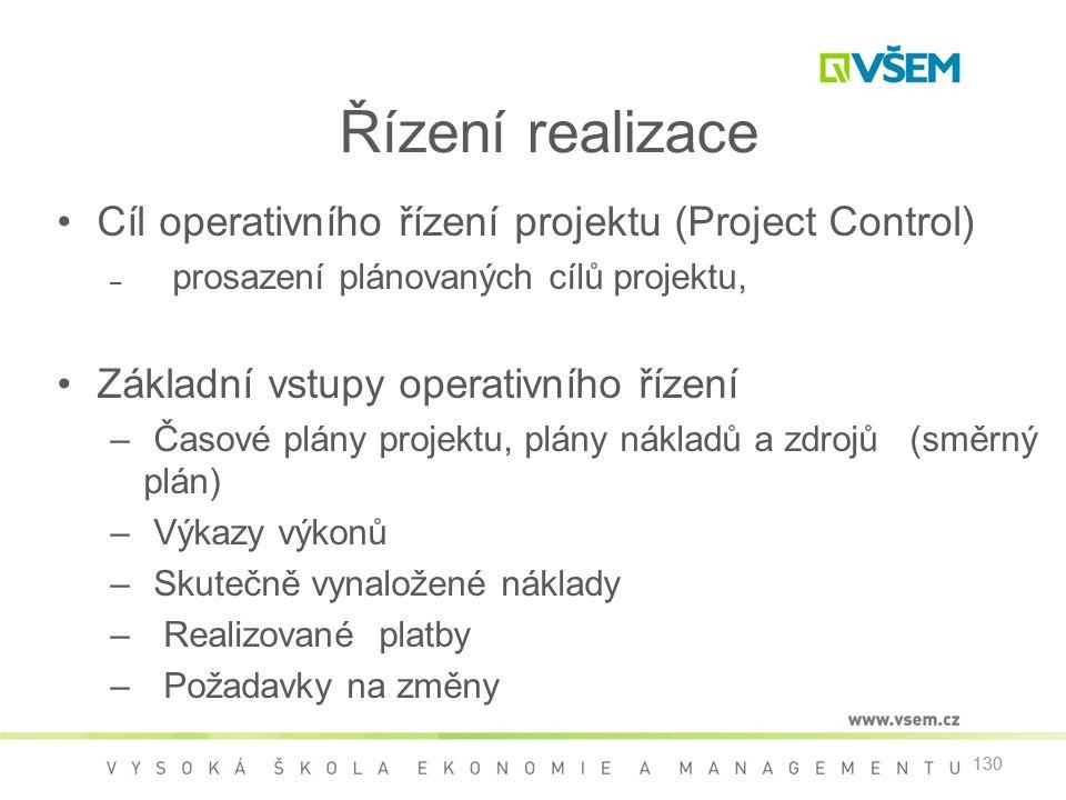 130 Řízení realizace •Cíl operativního řízení projektu (Project Control) – prosazení plánovaných cílů projektu, •Základní vstupy operativního řízení –