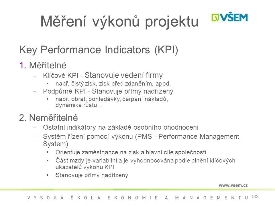 133 Měření výkonů projektu Key Performance Indicators (KPI) 1. Měřitelné –Klíčové KPI - Stanovuje vedení firmy •např. čistý zisk, zisk před zdaněním,