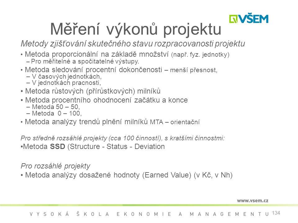 134 Měření výkonů projektu Metody zjišťování skutečného stavu rozpracovanosti projektu • Metoda proporcionální na základě množství (např. fyz. jednotk