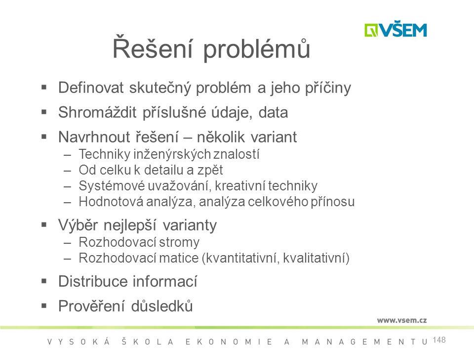 148 Řešení problémů  Definovat skutečný problém a jeho příčiny  Shromáždit příslušné údaje, data  Navrhnout řešení – několik variant –Techniky inže