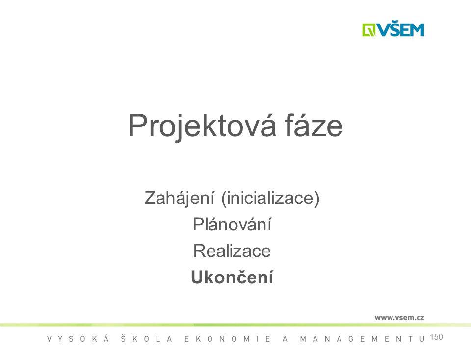 150 Projektová fáze Zahájení (inicializace) Plánování Realizace Ukončení 150