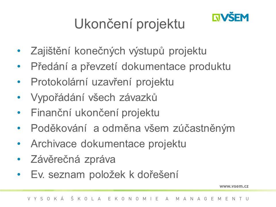 •Zajištění konečných výstupů projektu •Předání a převzetí dokumentace produktu •Protokolární uzavření projektu •Vypořádání všech závazků •Finanční uko