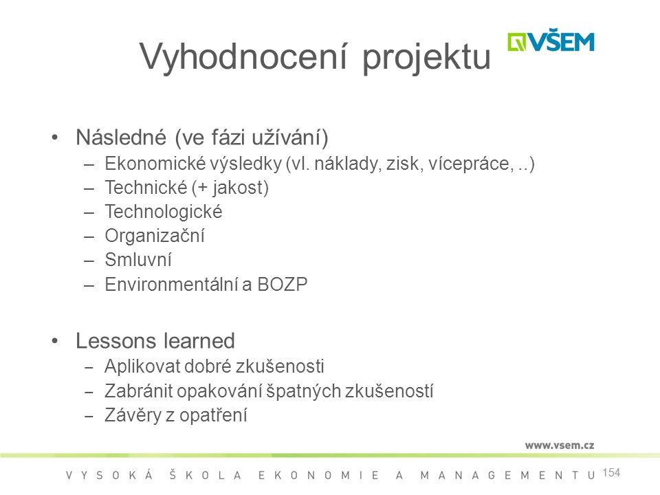 154 Vyhodnocení projektu •Následné (ve fázi užívání) –Ekonomické výsledky (vl.