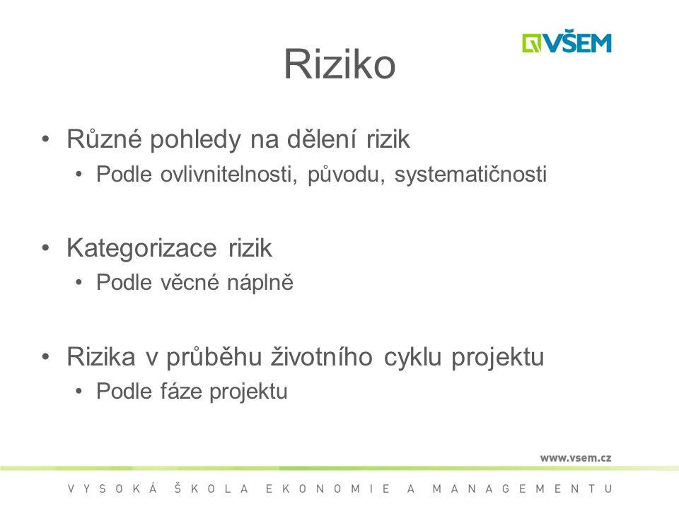 Riziko •Různé pohledy na dělení rizik •Podle ovlivnitelnosti, původu, systematičnosti •Kategorizace rizik •Podle věcné náplně •Rizika v průběhu životního cyklu projektu •Podle fáze projektu