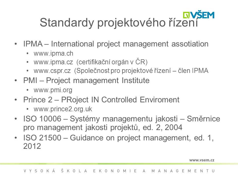 Standardy projektového řízení •IPMA – International project management assotiation •www.ipma.ch •www.ipma.cz (certifikační orgán v ČR) •www.cspr.cz (Společnost pro projektové řízení – člen IPMA •PMI – Project management Institute •www.pmi.org •Prince 2 – PRoject IN Controlled Enviroment •www.prince2.org.uk •ISO 10006 – Systémy managementu jakosti – Směrnice pro management jakosti projektů, ed.