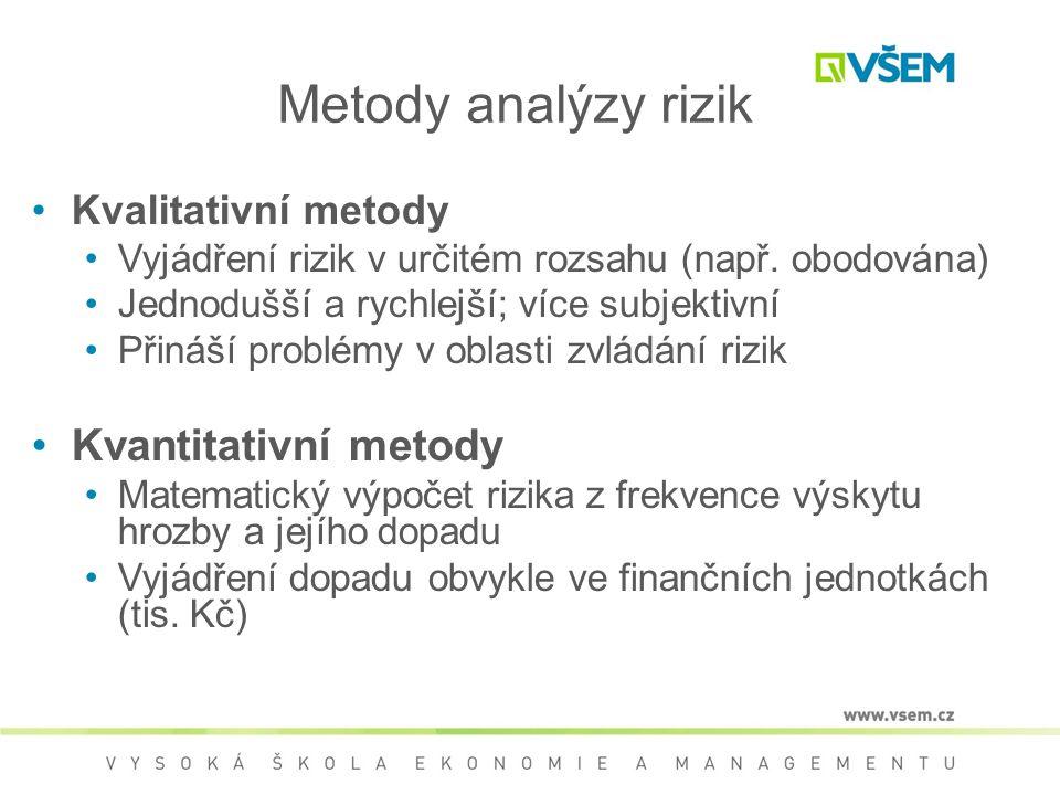 Metody analýzy rizik •Kvalitativní metody •Vyjádření rizik v určitém rozsahu (např. obodována) •Jednodušší a rychlejší; více subjektivní •Přináší prob
