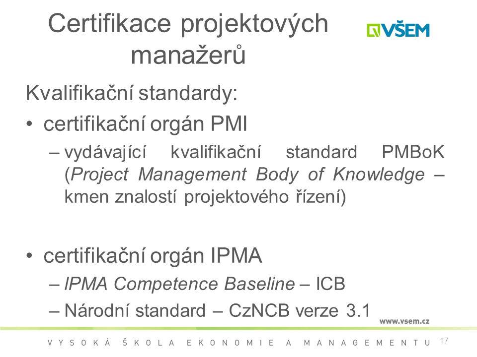 17 Certifikace projektových manažerů Kvalifikační standardy: •certifikační orgán PMI –vydávající kvalifikační standard PMBoK (Project Management Body of Knowledge – kmen znalostí projektového řízení) •certifikační orgán IPMA –lPMA Competence Baseline – ICB –Národní standard – CzNCB verze 3.1