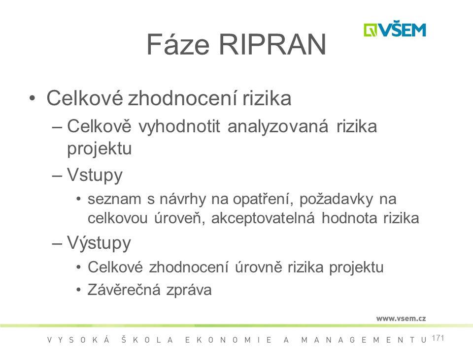 171 Fáze RIPRAN •Celkové zhodnocení rizika –Celkově vyhodnotit analyzovaná rizika projektu –Vstupy •seznam s návrhy na opatření, požadavky na celkovou