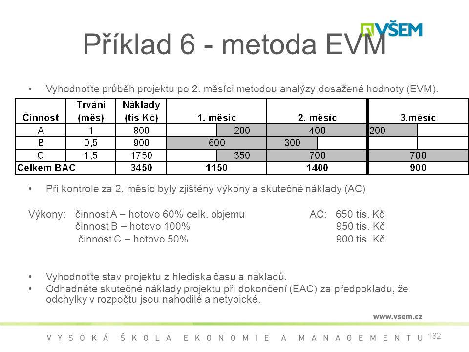 182 Příklad 6 - metoda EVM •Vyhodnoťte průběh projektu po 2. měsíci metodou analýzy dosažené hodnoty (EVM). •Při kontrole za 2. měsíc byly zjištěny vý
