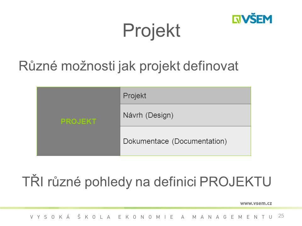 25 Projekt Různé možnosti jak projekt definovat TŘI různé pohledy na definici PROJEKTU 25 PROJEKT Projekt Návrh (Design) Dokumentace (Documentation)