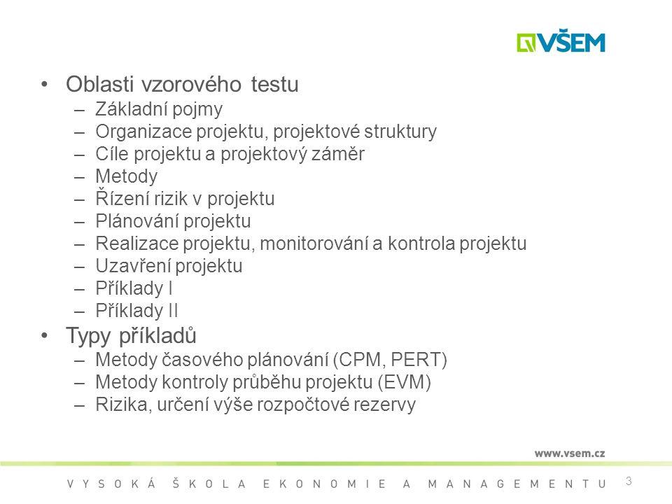 3 •Oblasti vzorového testu –Základní pojmy –Organizace projektu, projektové struktury –Cíle projektu a projektový záměr –Metody –Řízení rizik v projek