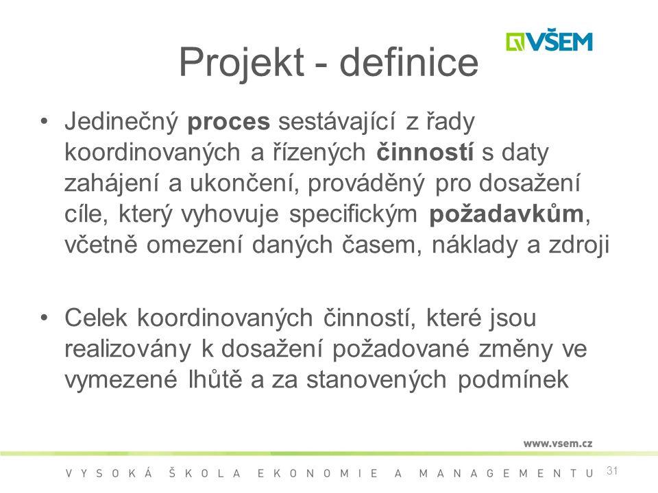 31 Projekt - definice •Jedinečný proces sestávající z řady koordinovaných a řízených činností s daty zahájení a ukončení, prováděný pro dosažení cíle, který vyhovuje specifickým požadavkům, včetně omezení daných časem, náklady a zdroji •Celek koordinovaných činností, které jsou realizovány k dosažení požadované změny ve vymezené lhůtě a za stanovených podmínek