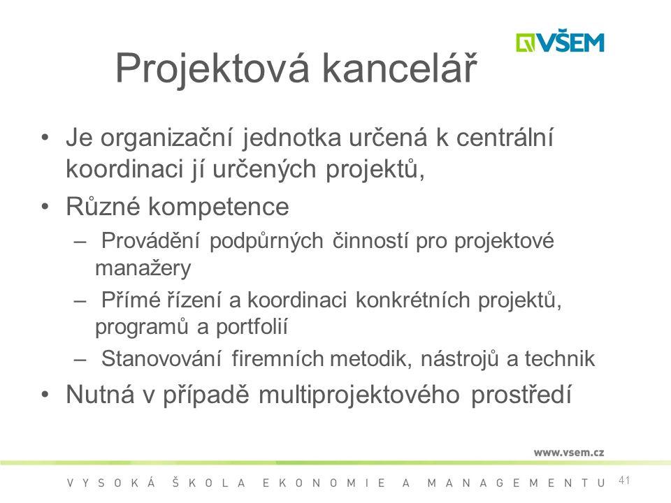 41 Projektová kancelář •Je organizační jednotka určená k centrální koordinaci jí určených projektů, •Různé kompetence – Provádění podpůrných činností