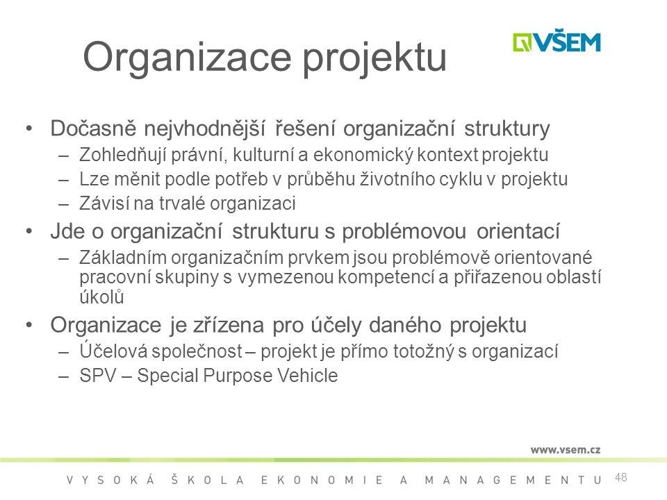 48 Organizace projektu •Dočasně nejvhodnější řešení organizační struktury –Zohledňují právní, kulturní a ekonomický kontext projektu –Lze měnit podle potřeb v průběhu životního cyklu v projektu –Závisí na trvalé organizaci •Jde o organizační strukturu s problémovou orientací –Základním organizačním prvkem jsou problémově orientované pracovní skupiny s vymezenou kompetencí a přiřazenou oblastí úkolů •Organizace je zřízena pro účely daného projektu –Účelová společnost – projekt je přímo totožný s organizací –SPV – Special Purpose Vehicle