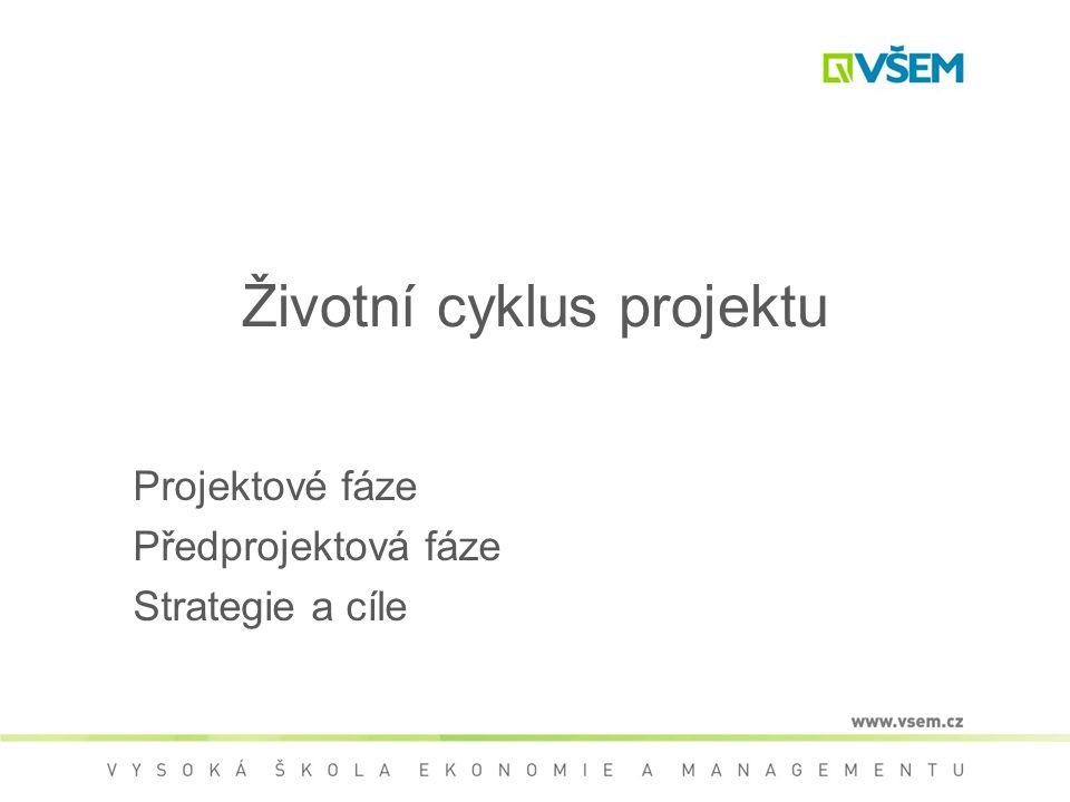 Životní cyklus projektu Projektové fáze Předprojektová fáze Strategie a cíle