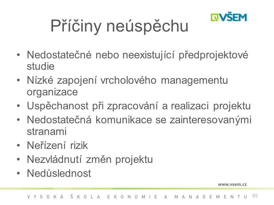65 Příčiny neúspěchu •Nedostatečné nebo neexistující předprojektové studie •Nízké zapojení vrcholového managementu organizace •Uspěchanost při zpracov