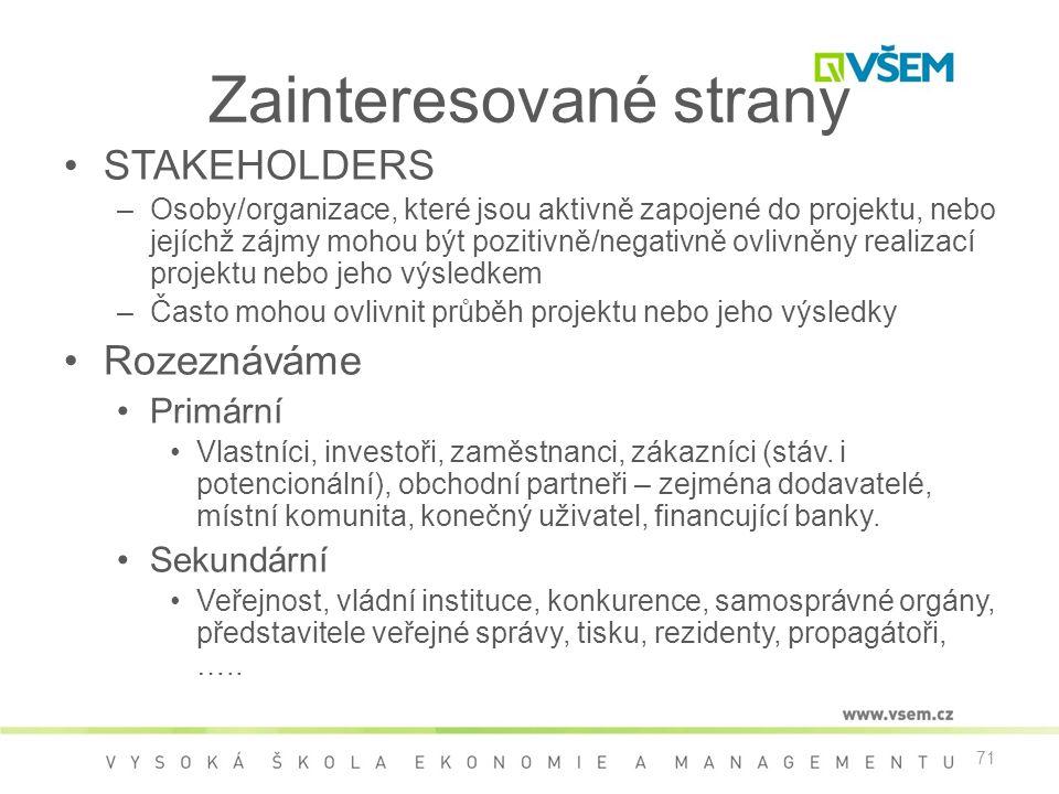 71 Zainteresované strany •STAKEHOLDERS –Osoby/organizace, které jsou aktivně zapojené do projektu, nebo jejíchž zájmy mohou být pozitivně/negativně ov
