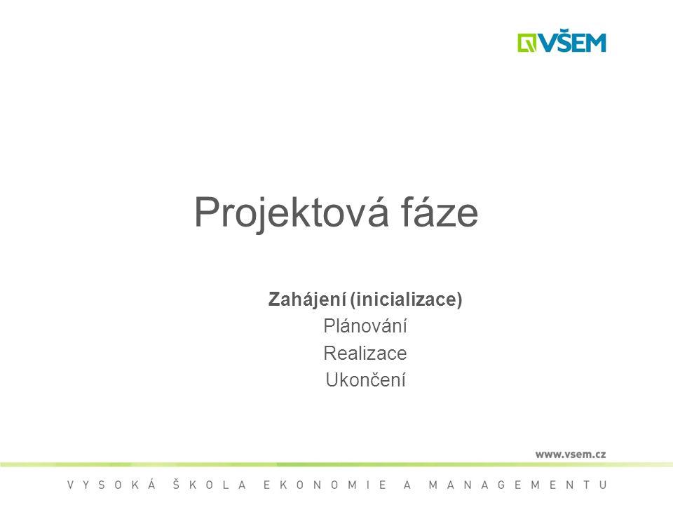 Projektová fáze Zahájení (inicializace) Plánování Realizace Ukončení