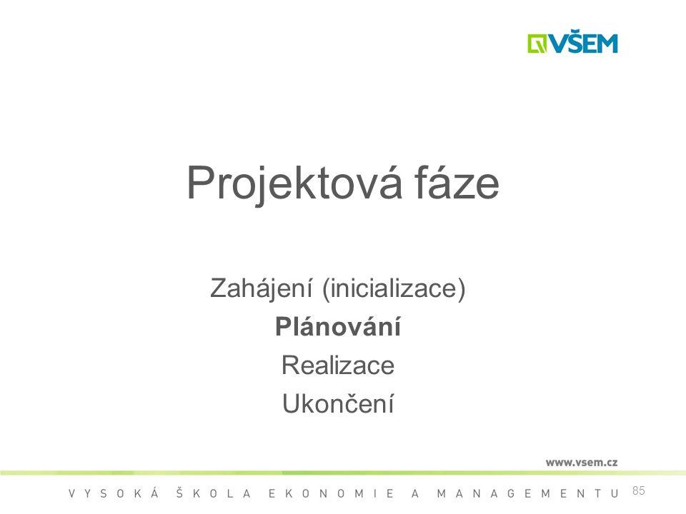 Projektová fáze Zahájení (inicializace) Plánování Realizace Ukončení 85