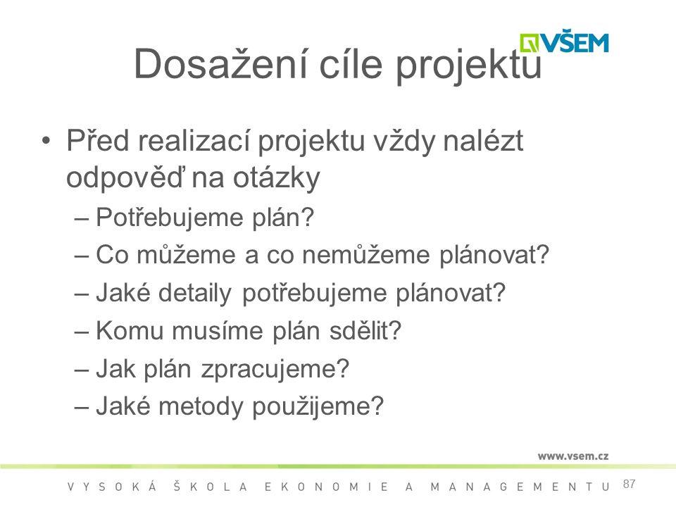 87 Dosažení cíle projektu •Před realizací projektu vždy nalézt odpověď na otázky –Potřebujeme plán.