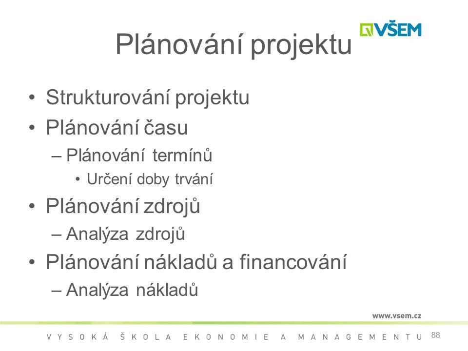 88 Plánování projektu •Strukturování projektu •Plánování času –Plánování termínů •Určení doby trvání •Plánování zdrojů –Analýza zdrojů •Plánování nákl