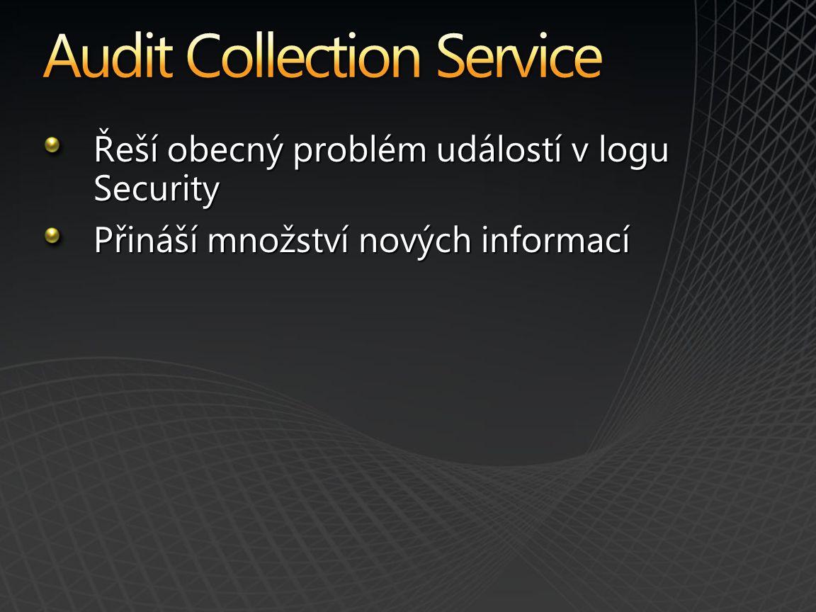Řeší obecný problém událostí v logu Security Přináší množství nových informací