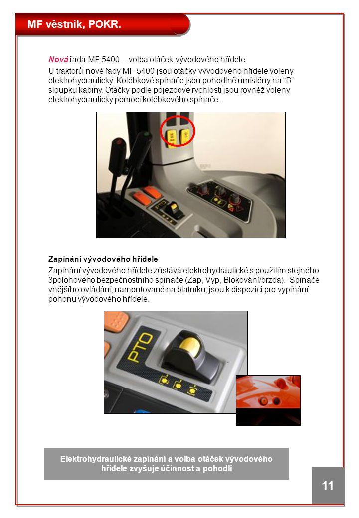 MF věstnik, POKR. 11 Zapínání vývodového hřídele Zapínání vývodového hřídele zůstává elektrohydraulické s použitím stejného 3polohového bezpečnostního