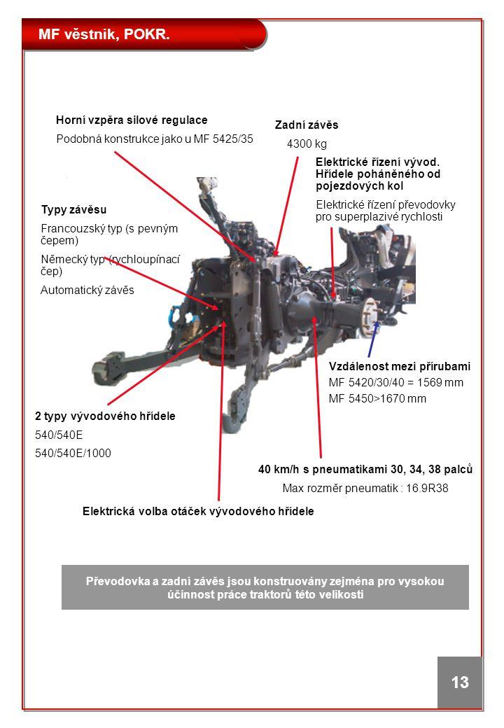 MF věstnik, POKR. 13 Vzdálenost mezi přírubami MF 5420/30/40 = 1569 mm MF 5450>1670 mm Elektrická volba otáček vývodového hřídele 2 typy vývodového hř