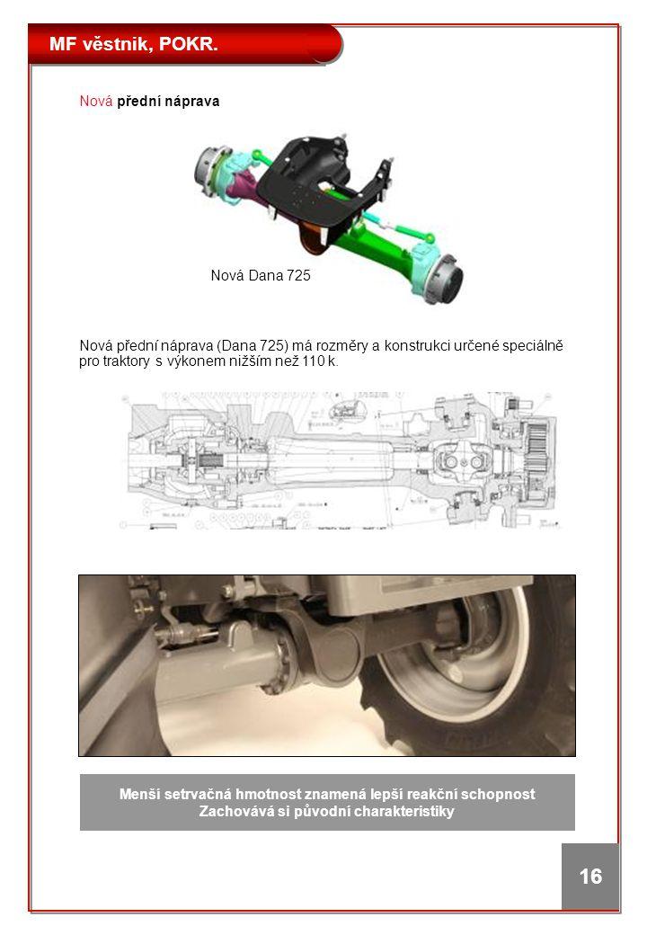 MF věstnik, POKR. 16 Nová přední náprava (Dana 725) má rozměry a konstrukci určené speciálně pro traktory s výkonem nižším než 110 k. Nová přední nápr